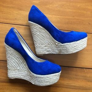 Therapy Blue Espadrille Wedge Pump Size 7